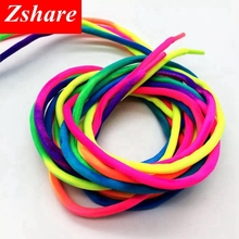 цены 1 Pair Round Rainbow Shoelaces Canvas Athletic Shoelace Sport Sneaker Shoe Laces Strings 100CM/120CM