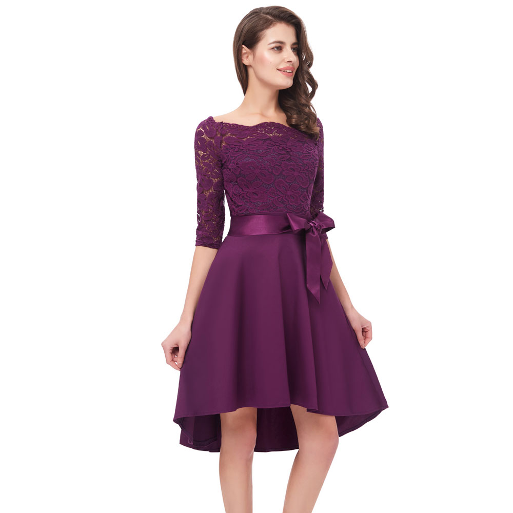 Beauty Emily Purple Lace Formal Party   Prom     Dresses   2019 Short for Women A-Line Half Sleeve Wedding Party   Prom     Dresses