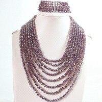 Popular tím AB tinh thể thủy tinh 4x6 mét thời trang hạt 8 rows chain necklace 5 rows bracelet trang sức set B851