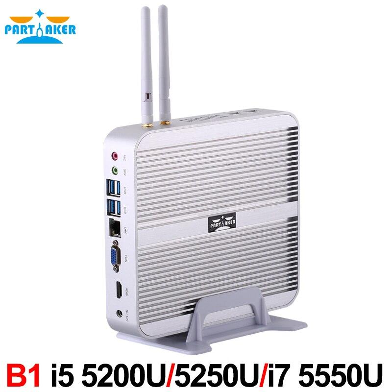 все цены на 5th Gen CPU Broadwell Intel Core I5 5250U Fanless Barebone Mini PC Windows Linux HTPC Server онлайн
