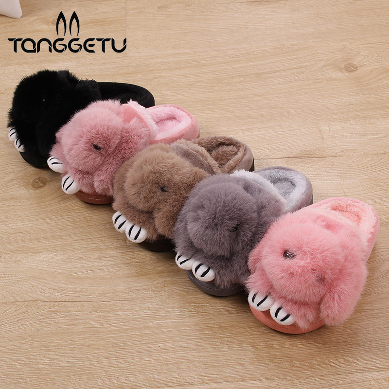 Tanggetu 2018 Neue Ankunft Herbst Winter Warm Baumwolle Hausschuhe Kinder Kinder Schuhe Tiere Kaninchen Niedrigen Lint Schuhe Mädchen Und Jungen