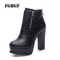 Winter 2018 velvet Martin boots women's short boots thick base waterproof platform thick heel high heels women's boots 34 40code