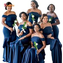 Off the Shoulder Short Sleeve Wedding Guest Dresses Strapless Navy Blue  Satin Bridesmaid Dresses Ruffles vestiti damigella D239 2897611875cc