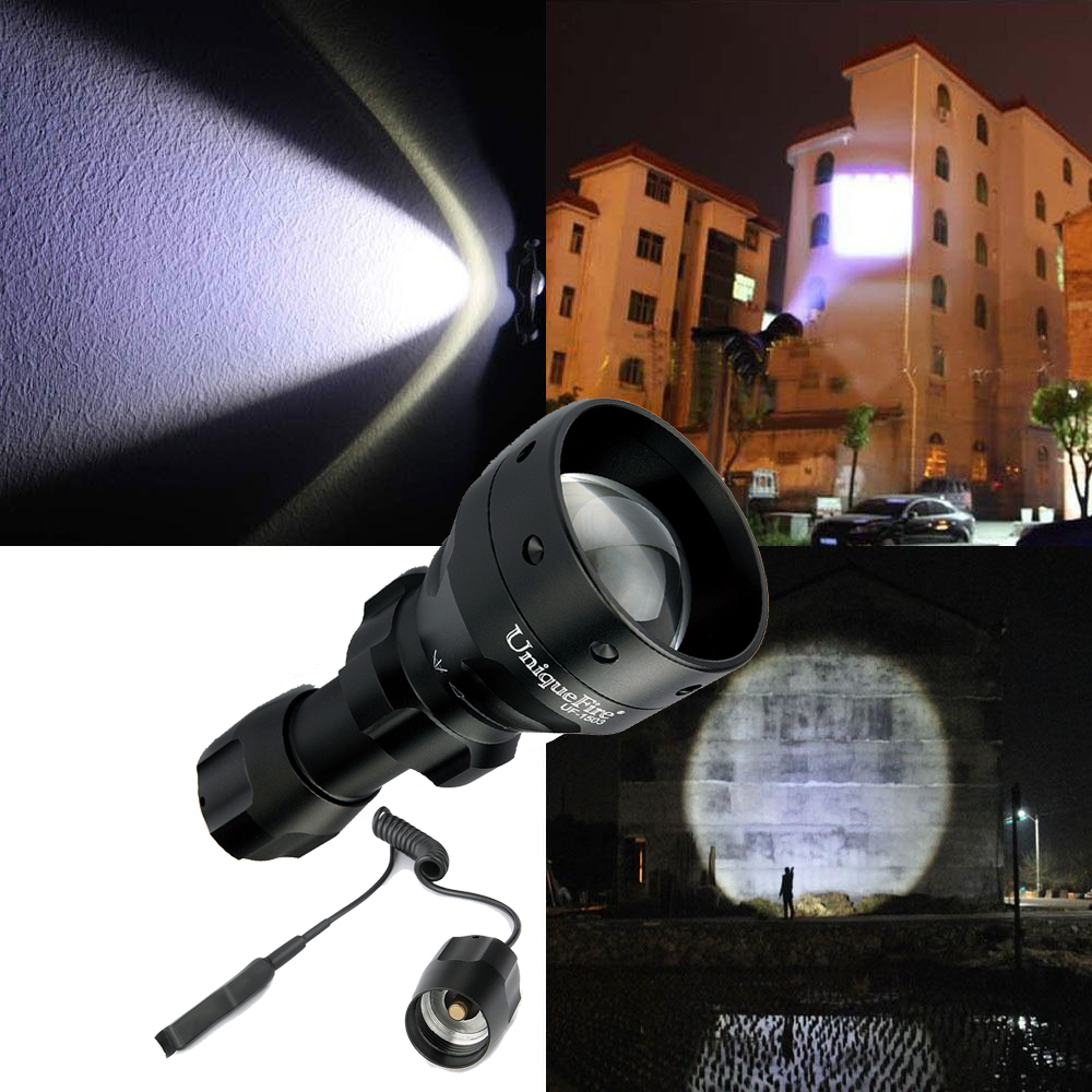 UniqueFire Rechargeable LED Flashlight 1503-XM-L2 1200LM Zoom 5 Modes Water Resistant 18650 Lantern+Rat Tail powerful led flashlight 1503 cree q5 zoom 3 modes auminum alloy lantern white red green light charger gun mount rat tail