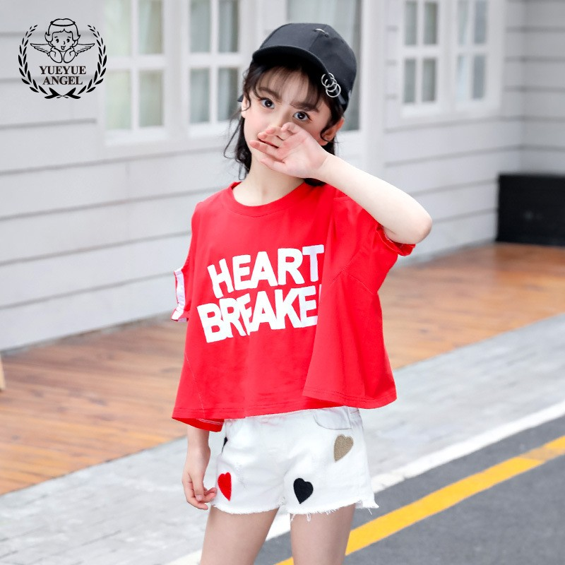 2018 New Casual Sports Girl Suit Red Letter Off Shoulder Sleeve Top White Denim Hole Ripped Heart Parten Pants Print Pocket Pant off the shoulder long sleeve letter print sweatshirt