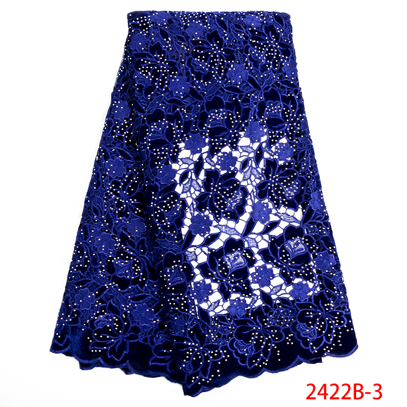 Royal Blue Velvet Guipure Lace Fabric With Stone Beautiful High Quality African Cord Lace Fabric Party