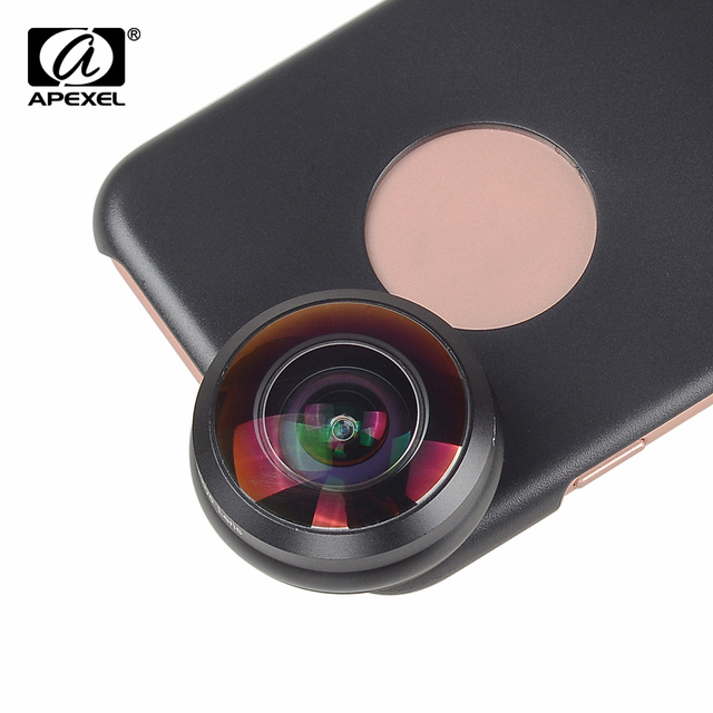 APEXEL Mobile Phone Lens 238 degree super fisheye lens, 0.2X Wide angle lens with back case and clip for iPhone 6 6s plus 7