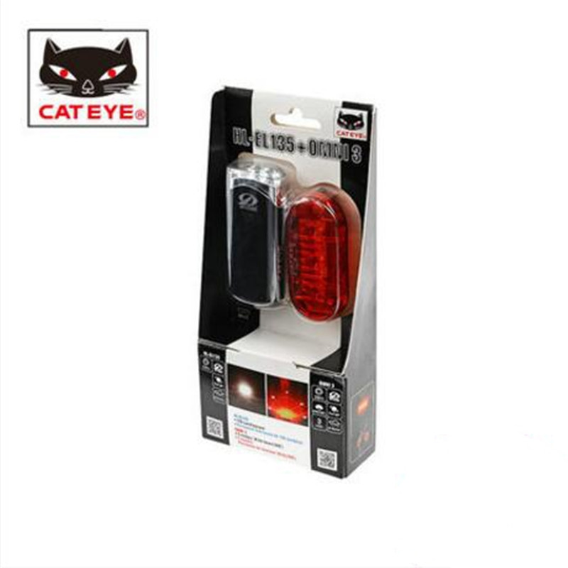 CATEYE HL-EL135+TL-LD135-R set bicycle lamp lights, mountain bike headlights taillights r mountain
