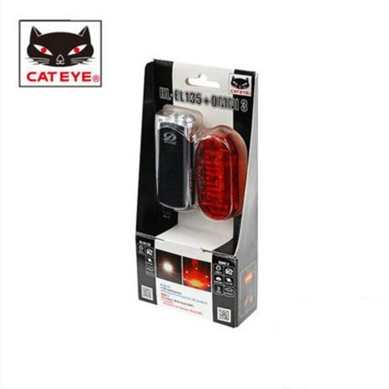 CATEYE HL-EL135+TL-LD135-R set bicycle lamp lights, mountain bike headlights taillights велосипедный фонарь cat s eye hl el135 hl el135 led