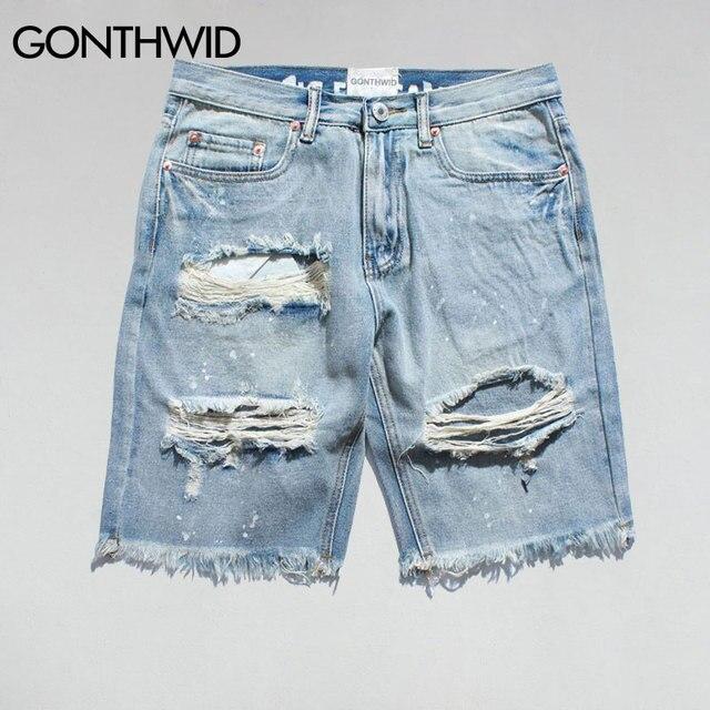 GONTHWID rasgado destruido apenado Denim Shorts 2017 hombres agujero Denim  Shorts azul masculino Hip Hop moda a69853f953f