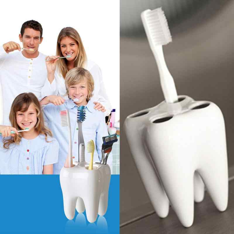 Toothbrush holder 4 Holes Tooth Shape PS Contaniner Shaving Razor Toothpaster Toothbrush Holder  Drop Shipping #1204