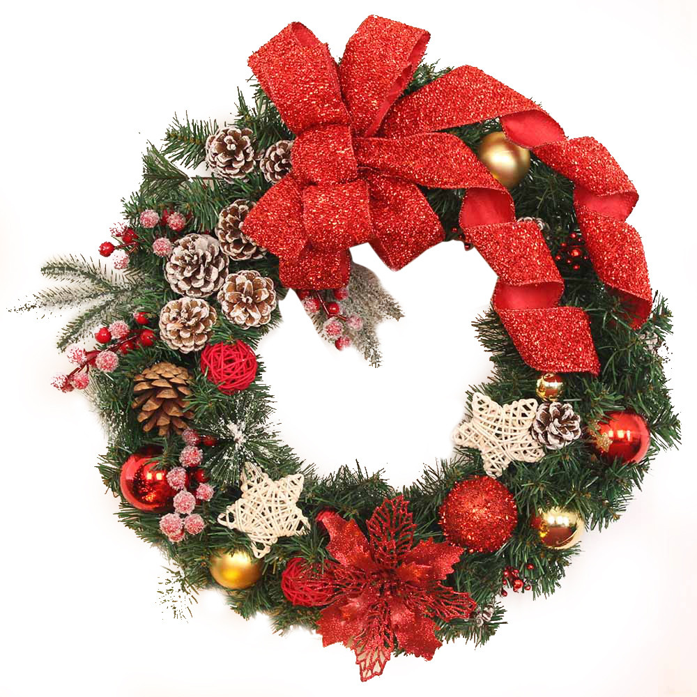 Christmas wreath garland balls star ribbon christmas for Stars decorations for home