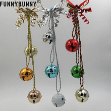 FUNNYBUNNY Christmas Door Hangers Jingle Bell Red, Silver and Gold Finish Decorations