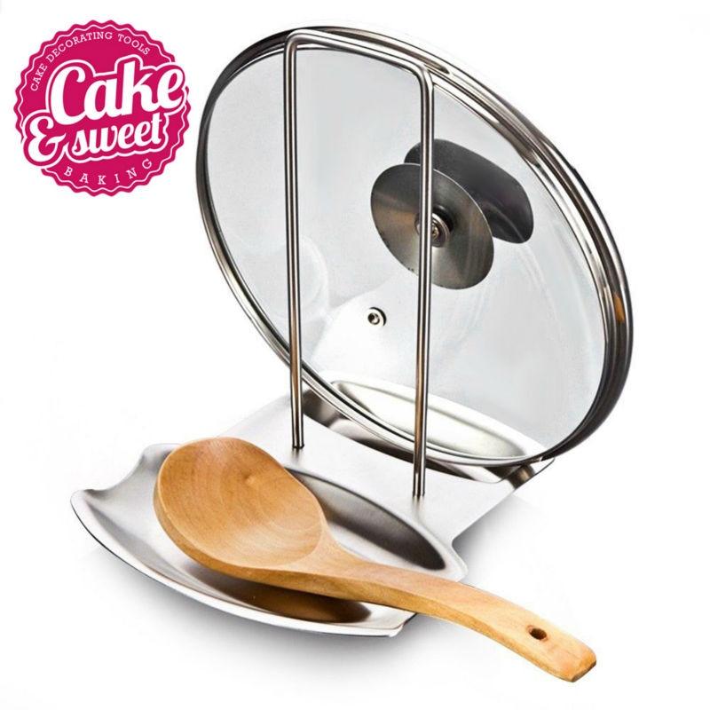 Nerezová ocel hrnce stojan multifunkční kuchyňské nástroje jednoduché odnímatelné víko police vaření skladování pan kryt víko stojan