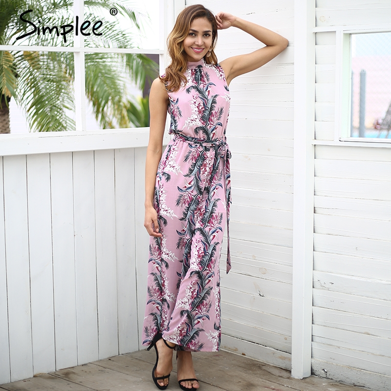Simplee Backless Boho Print Long Jumpsuit Romper Women High Waist Loose Casual Overalls 2018 Spring Streetwear Playsuit Female