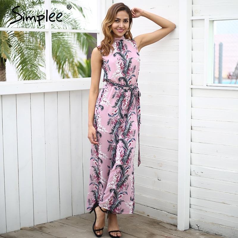 Simplee Backless Boho Print Long Jumpsuit Romper Women High Waist Loose Casual Overalls 2018 Spring Streetwear Playsuit Female