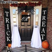 OurWarm Trick or Treat Halloween Banner 3pcs/ Set Home Office Decor Ready To Hang Door Sign Outdoor Decoration
