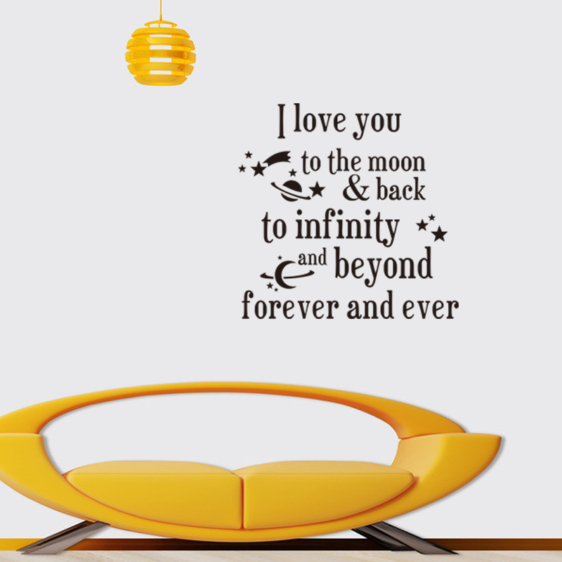 Warm words I love you forever and ever characters quote wall stickers zy8261 show your love wall stickers home decor image