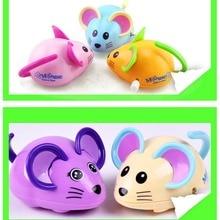 Купить с кэшбэком Wind Up Toys Gift Cartoon Animal Back Clockwork Classic Cute Baby Toys Infant mouse Running Car Crawling Kids Mini Jumping Pull