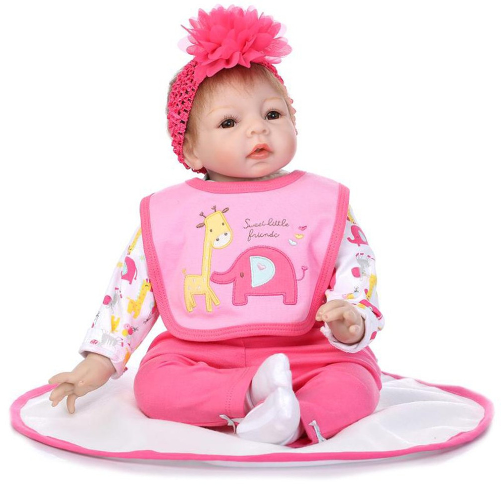 Simulation Reborn Baby Doll Newborn Cute High Grade Soft Silicone Lifelike Cloth Body Dolls Parenting Toys Gift for Child Girls