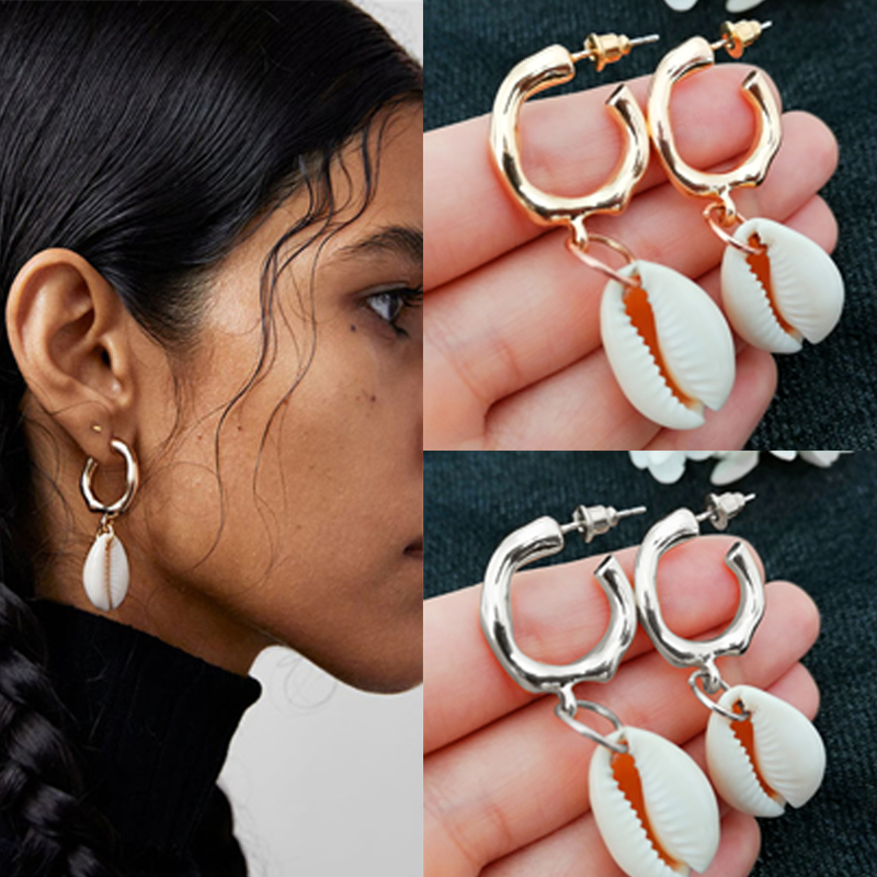 Fashion Cowrie Sea Shell Earrings For Women Gold Color 2019 New Summer Statement Conch Shell Drop Earrings Big Pendientes