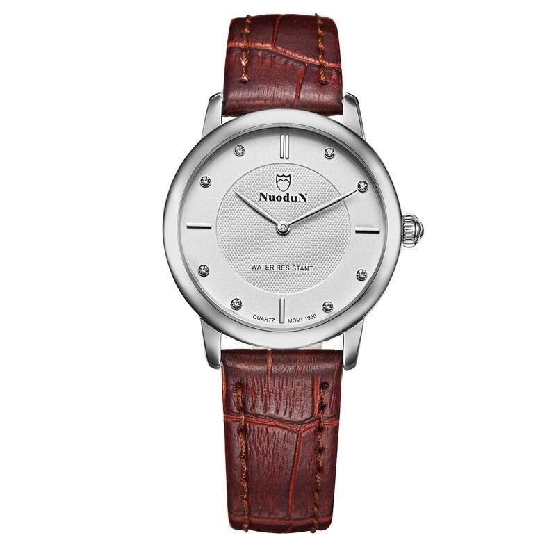 Nuodun Fashion Casual Quartz watch Leather Strap Women Waterproof Dress Business Wrist Watch For Woman Ladies