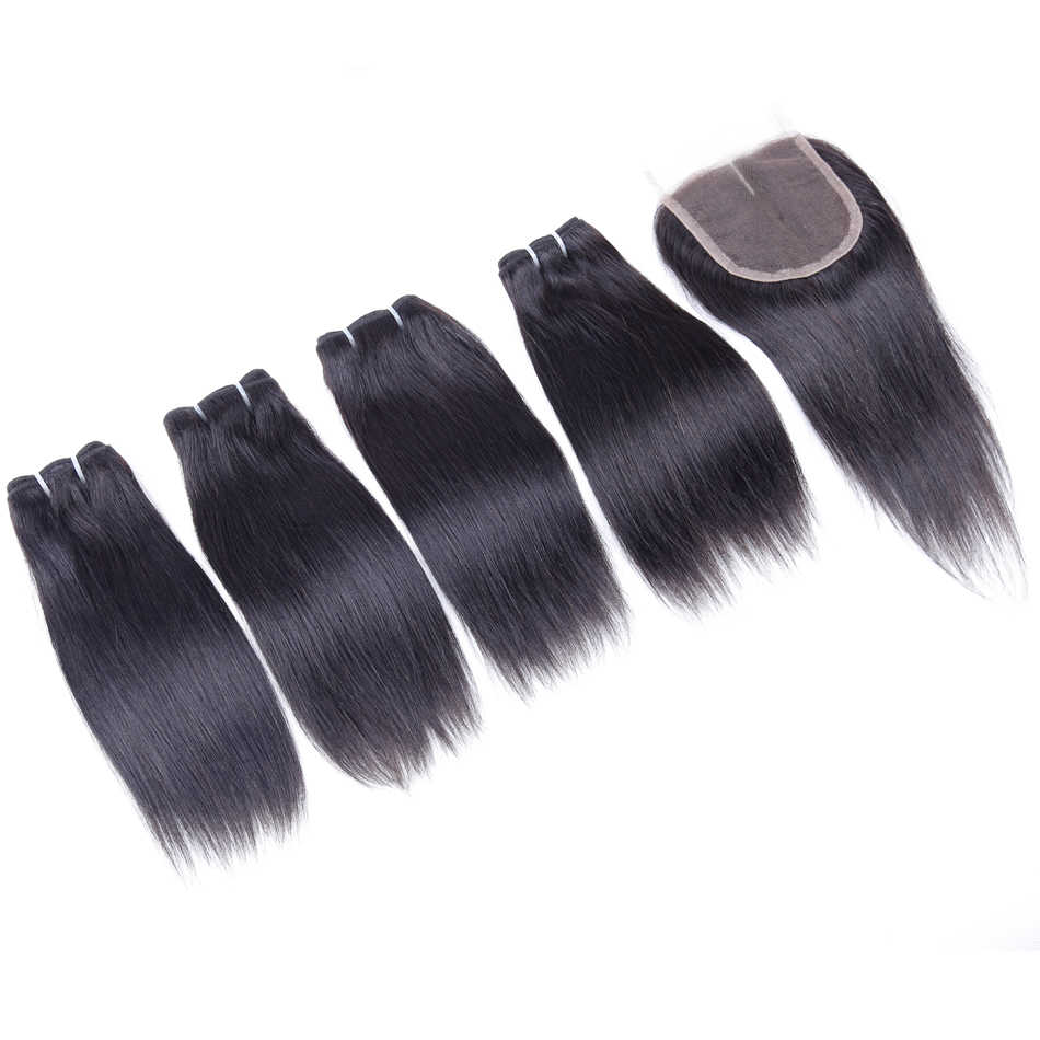 50g/pc Brazilian Human Hair Bundles With Closure Straight Hair Bundles With Closure 4 Bundles With Middle Part Closure Non-Remy