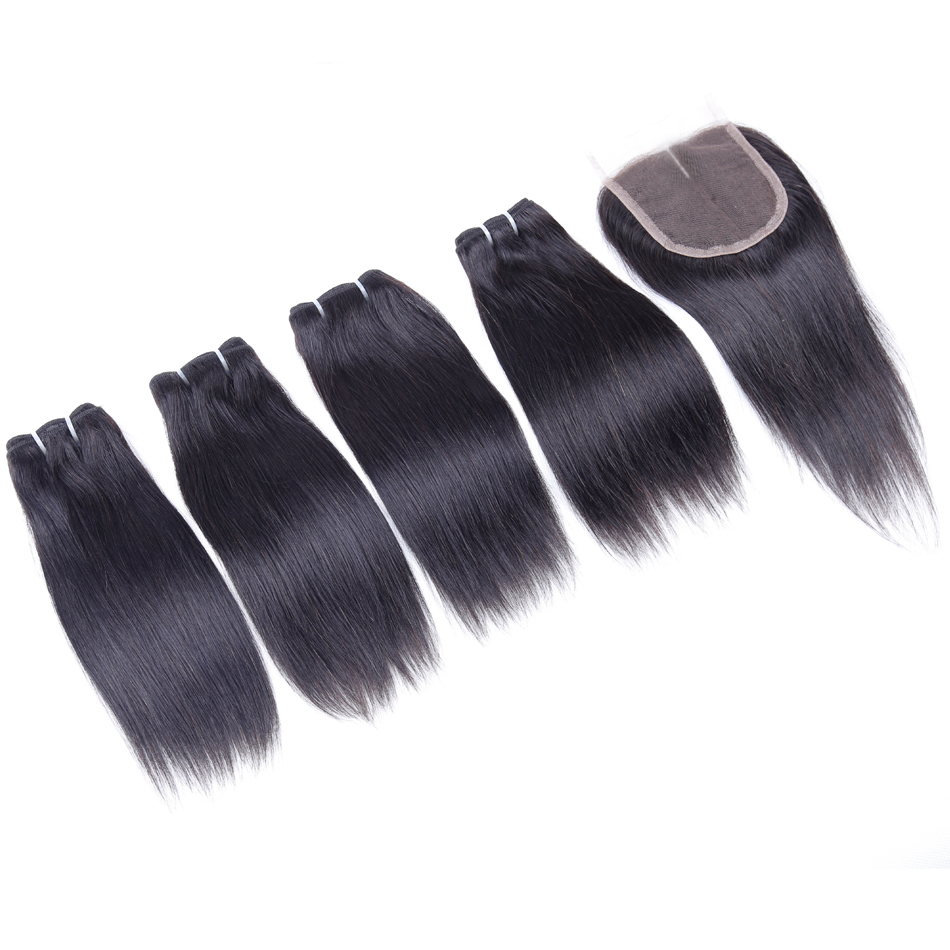Brazilian Human Hair Bundles With Closure Straight Hair Bundles With Closure 4 Bundles With Closure Non-Remy Weave Hair 50g/pc