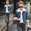 3xl plus size denim jeans casacos mulheres primavera outono inverno 2017 velvet engrosse cowboy camisa de manga longa jaqueta jeans casaco feminino A1441