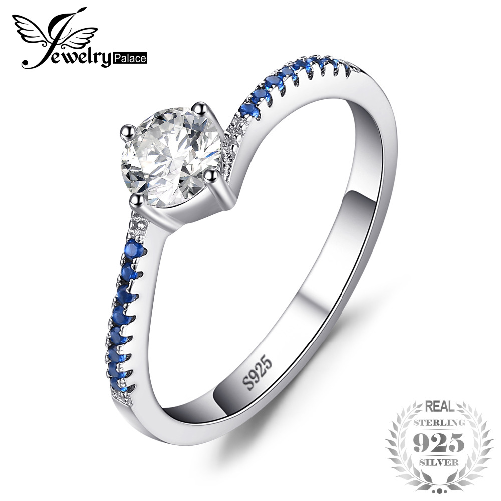 SmykkerPalace Round Created Blue Nano Sapphire Anniversary Promise Forlovelsesring Real 925 Sterling Silver Ring Smykker
