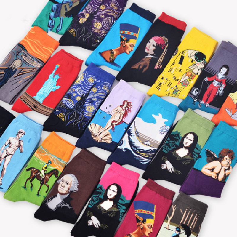 CRAZY FLY   Socks   With Print Women Fashion Renaissance Character Painting Cotton   Socks   Harajuku Mona Men Novelty Funny Art   Socks