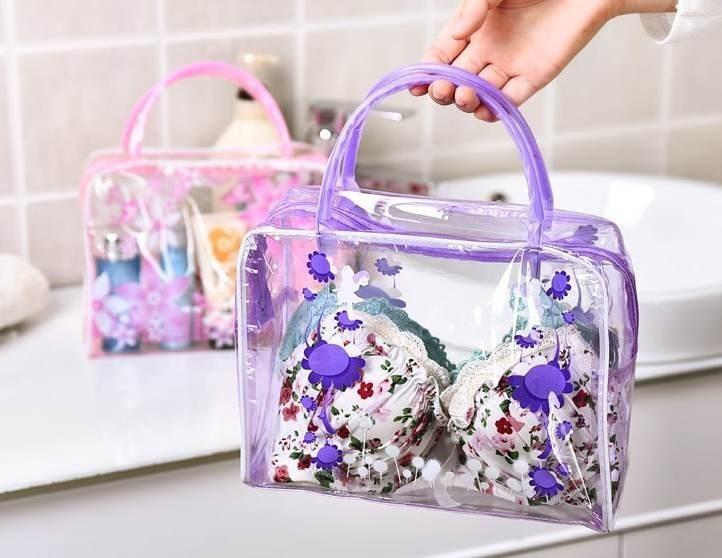 HMUNII Brand Transparent Portable Women Cosmetic Bag Waterproof Women Makeup Bag Underwear Make Up Drug Storage Organizer Bag 2