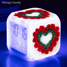 Love Heart Red Rose Alarm Clock Glowing LED Color Change Digital Kids room Multi-fonction Electronic Watches