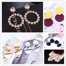 Luxury Romantic Multi-color Sequin Imitation Pearls Drop Earrings &Delicate Brincos For Sweet Women Clothing Accessories Gifts