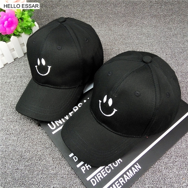 New embroidery smile face baseball cap couple curved canopy caps men women golf baseball tide hat for gift wholesale C1056