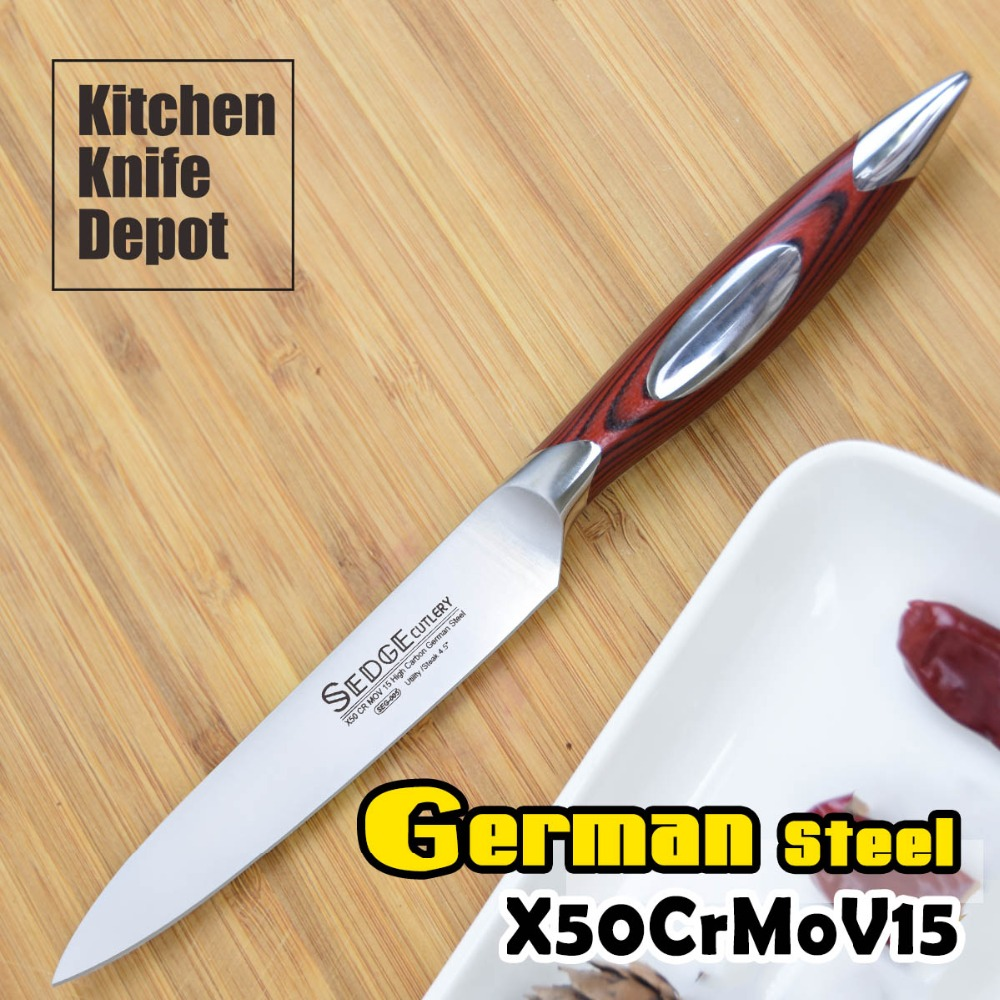 SEDGE 4.5 Utility Knife Kitchen Steak Blade High Carbon German Stainless Steel X50CrMoV15 G10 Handle Slicing Cutting Chef Cook