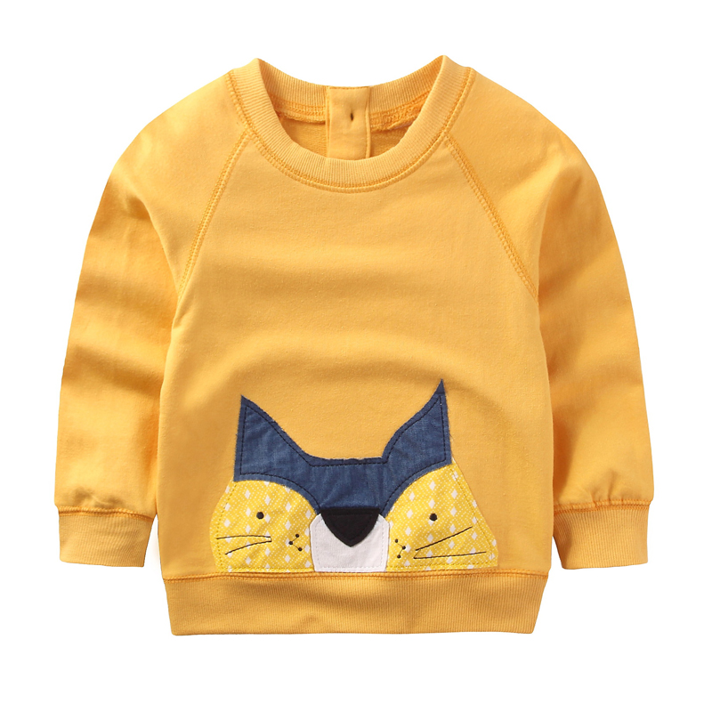 Children Clothes 2017 New Autumn&Spring Boys Girls Clothes Cute Cartoon Round Neck Long Sleeve Cotton Pullover Kids Clothes