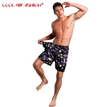 Męskie satynowe jedwabne bokserki piżama piżama hombre krótkie spodnie spodenki Combo Pack seksowna bielizna piżamy dla mężczyzn satynowe jedwabne spodnie do spania tanie i dobre opinie Mężczyźni Spać dna Popelina Rayon Jedwabiu underwear men Stałe Soft and cozy for skin Silk Pajamas Satin long pants Loung