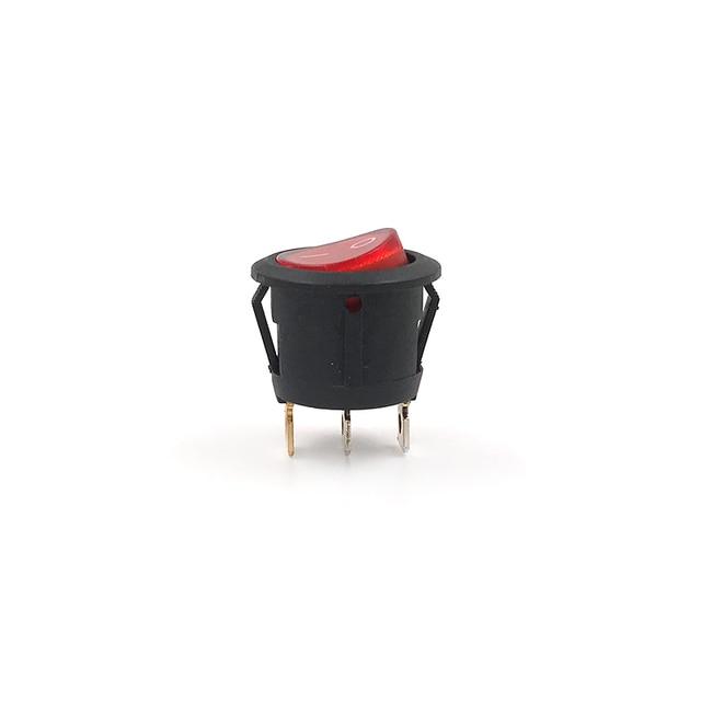 10pcs Red Illuminated 12v Rocker Switch 20 Amp DC, Round Light 12 V ...