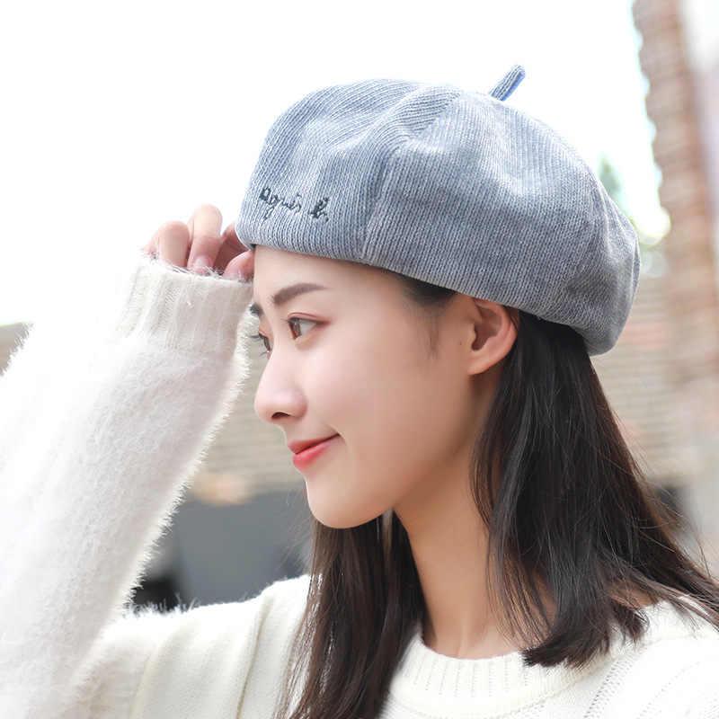 e3a41cc48bd03 ... English embroidered beret Ladies  corduroy octagon hat Pumpkin winter  Children s hat girls head wear warm ...