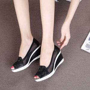 Image 5 - Women Sandals Breathable Mesh Cut out Wedges Summer Shoes Woman Platform Sandals Open Toe Slip On Bling Sandalias Mujer SH031501