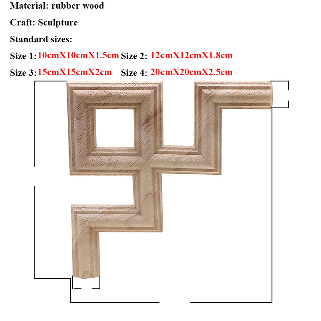 Vintage Unpainted Wood Carved Decal Corner Applique Frame for Home Furniture Wall Cabinet Door Decorative Wooden Miniature Craft 4