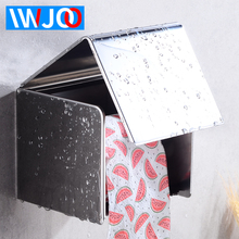 купить Toilet Paper Holder with Shelf Cover Stainless Steel Bathroom Roll Paper Box Waterproof Wall Mounted WC Tissue Paper Holders дешево