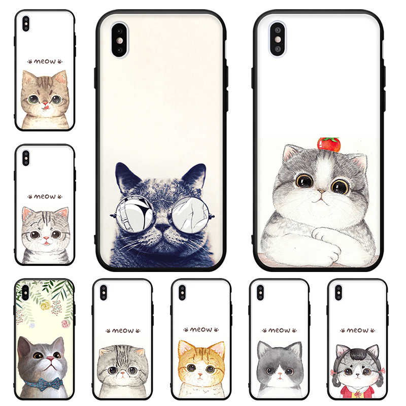 Cool Cat Phone Case For iPhone X XS Max 6 6s 7 8 Plus XR Animal Soft TPU Cover For iPhone 6 6s 10 5 5S SE Meow Cats Pattern Capa