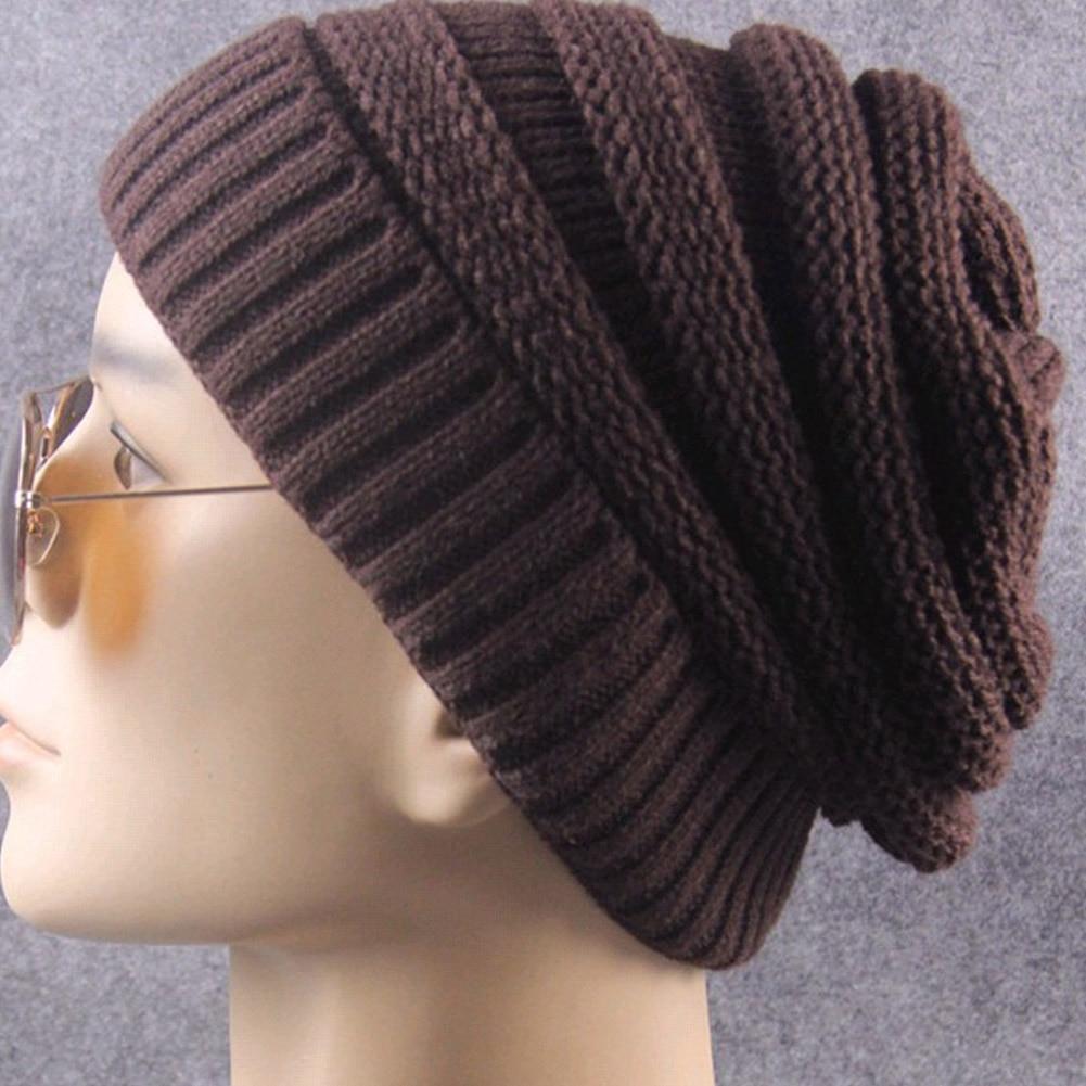 1pcs Men Women Winter Fall Knitted Hats Warm Toboggan Beanie Brim Outdoor Cap 56-58cm -MX8
