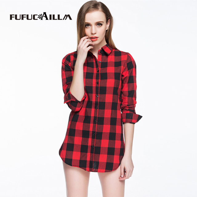 2016 Sexy Autumn Fashion Women Blouses Casual Plaid Cotton Blousas Female Long Shirt Long Sleeve Plus Size Women Clothing