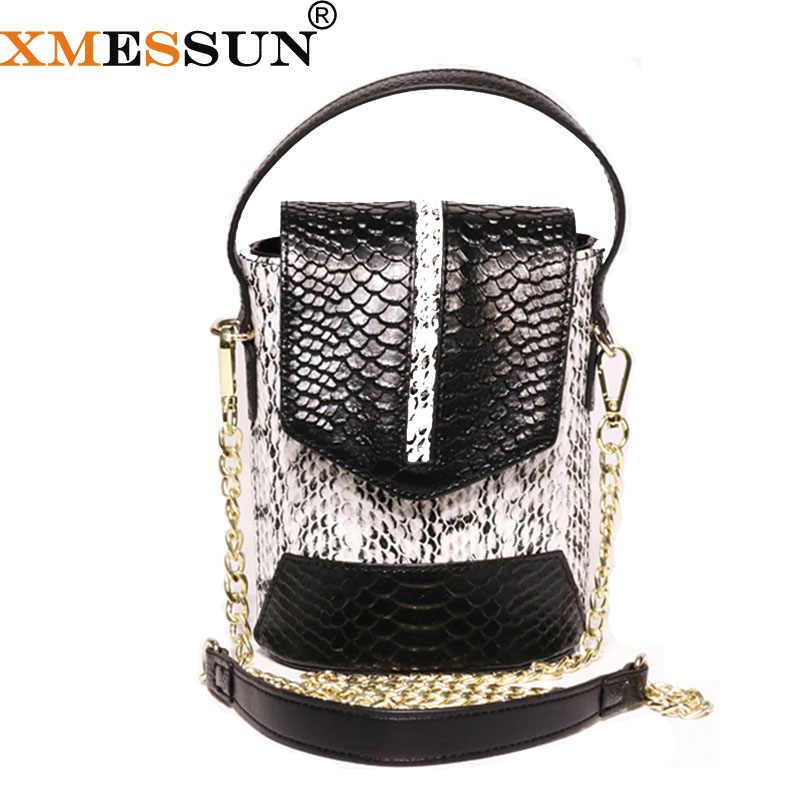 87fd55e0b52c XMESSUN Women Genuine Leather Snake Bucket Bag 2019 Ladies Shoulder  Messenger Bag Designer High Quality Snake