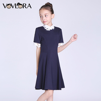 Girls Dress O Neck Short Sleeve Kids School Dresses Detachable Collar Solid Children Clothes Spring Size