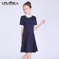 Girls Dress O Neck Short Sleeve Kids School Dresses Detachable Collar Solid Children Clothes Spring Size