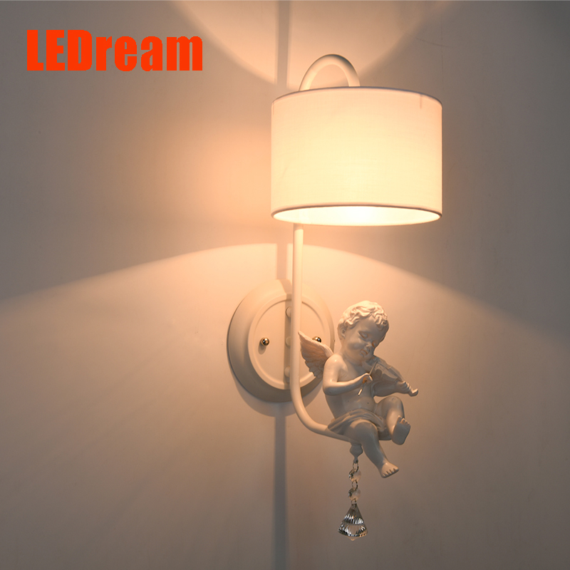 Creative lamp of bedroom the head of a bed children mirror rural corridor wall lamp Jane's European angel sitting room lamp american creative fashion led the study bedroom mirror before the long arm of the head of a bed wall lamp wrought iron long arm